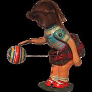 Tin Litho Mechanical Suzy Bouncing Ball