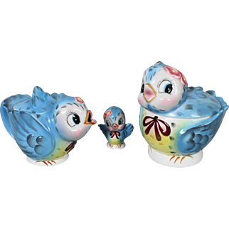 Lefton Bluebird Cookie Jar Teapot & Shaker