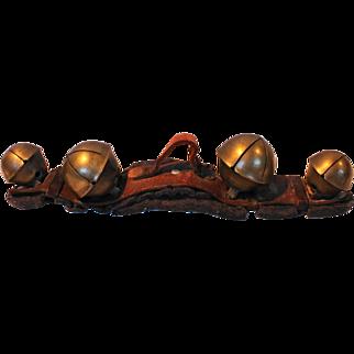 Vintage Leather Strap of Brass Sleigh Bells