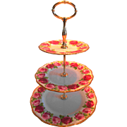 Royal Albert Old English Rose 3 Tier Cake Plate