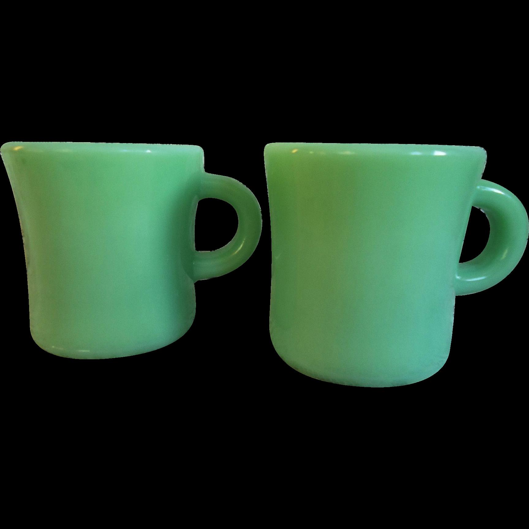 fire king jadite coffee mugs c handle rare from sweetcandy on