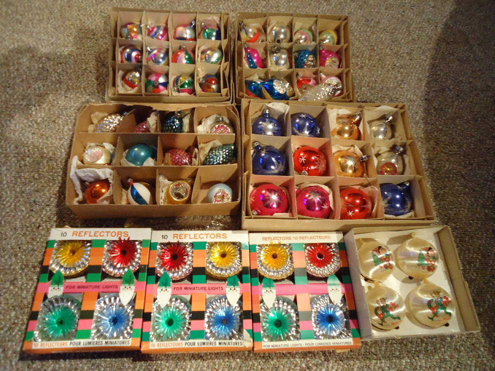 Vintage Mercury Glass Christmas Tree Ornaments From