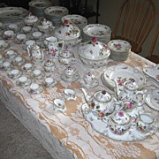 Antique MEISSEN EXTENSIVE FULL DINNER SET  ca. 1870 to ca. 1890 Includes Tea Set & Demitasse Set Floral Design 148 pieces