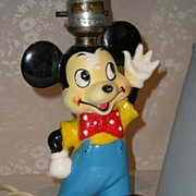 Mickey Mouse Porcelain Lamp ca. 1940's