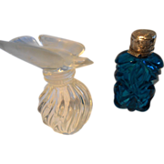 Lalique & Blue Cut Glass Perfume Bottles