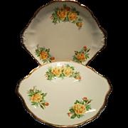 Royal Albert Yellow Tea Rose Cake Plates