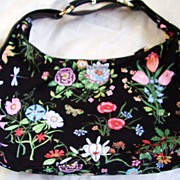 "GUCCI  ""Flora"" Black Shoulder Handbag/Purse - Botanical Design on Black Canvas with Black Leather Trim - Made in Italy"