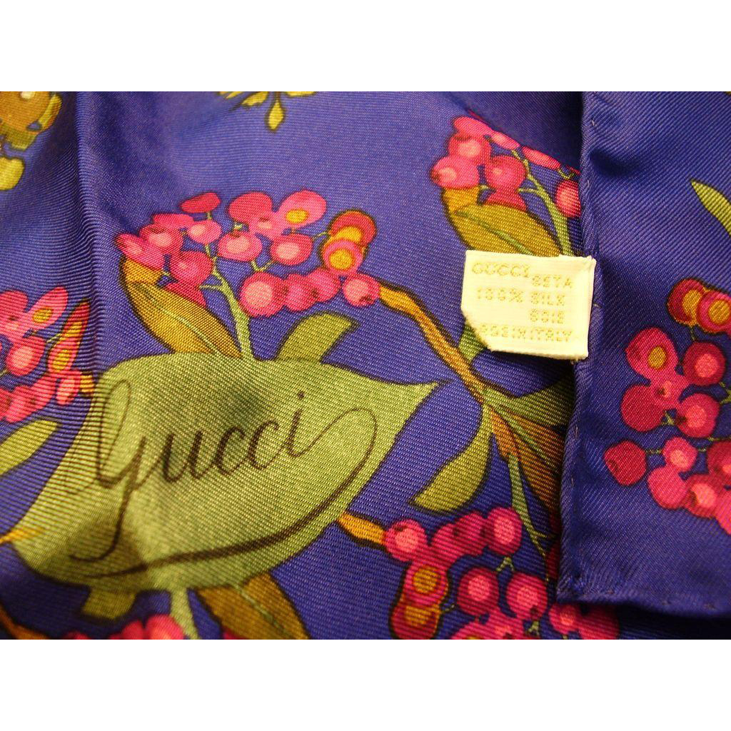 "Gucci Silk Scarf - Botanical Floral Design 34"" Square - Made in Italy"