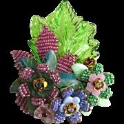 """Stanley Hagler - Ian St. Gielar Large 3-1/4""""  Floral Vintage Pin - Designer Signed"""