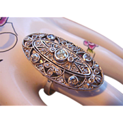 "14 Kt. Gold  & Diamonds Art Deco Estate Cocktail Ring - Elegant 1-1/2"" Long  - 9.9 Grams - 9-1/2 Size"
