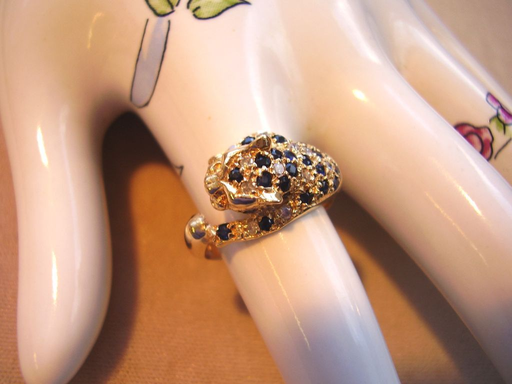 14 Kt Gold Leopard Ring Pave Diamonds Amp Sapphires Ruby