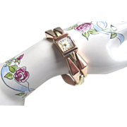 14Kt. Gold Bracelet Watch -  Yellow/Rose Gold Vintage 1940's Retro Estate Ladies Swiss Watch 38.9 Grams Working Wind-up