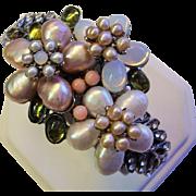 Pearl Cluster Bracelet by Siman Tu - Freshwater Pearl Flower Design - Vintage 1990 - Saks Fifth Avenue
