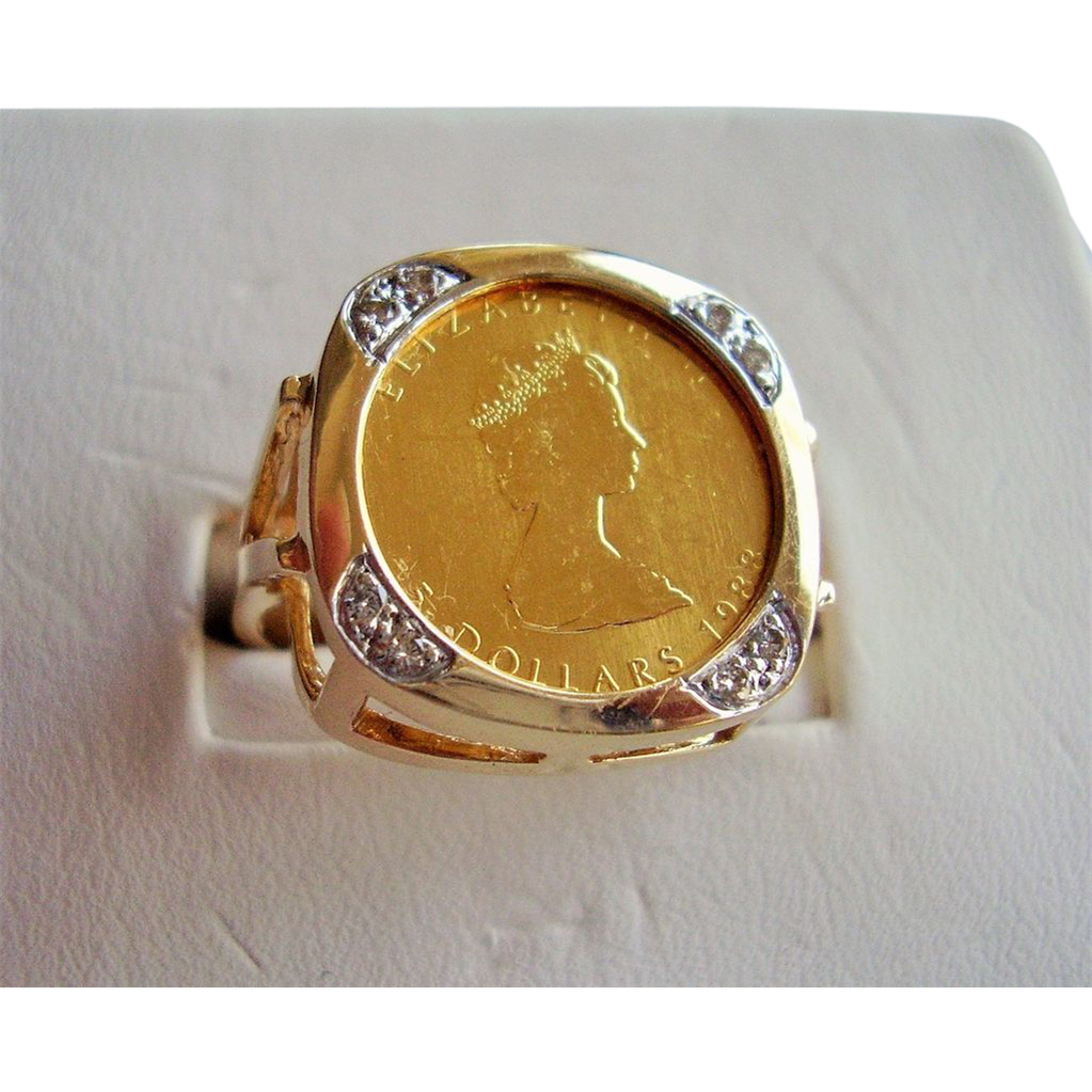 Top Gold Coin Ring - Canada 5 Dollars Queen Elizabeth II Maple Leaf  IS85