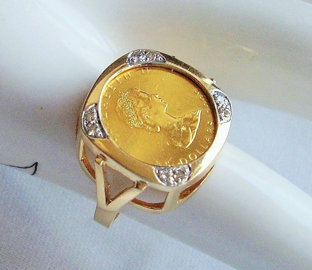 Gold Coin Ring Canada 5 Dollars Queen Elizabeth Ii Maple Leaf Coin Sold On Ruby Lane