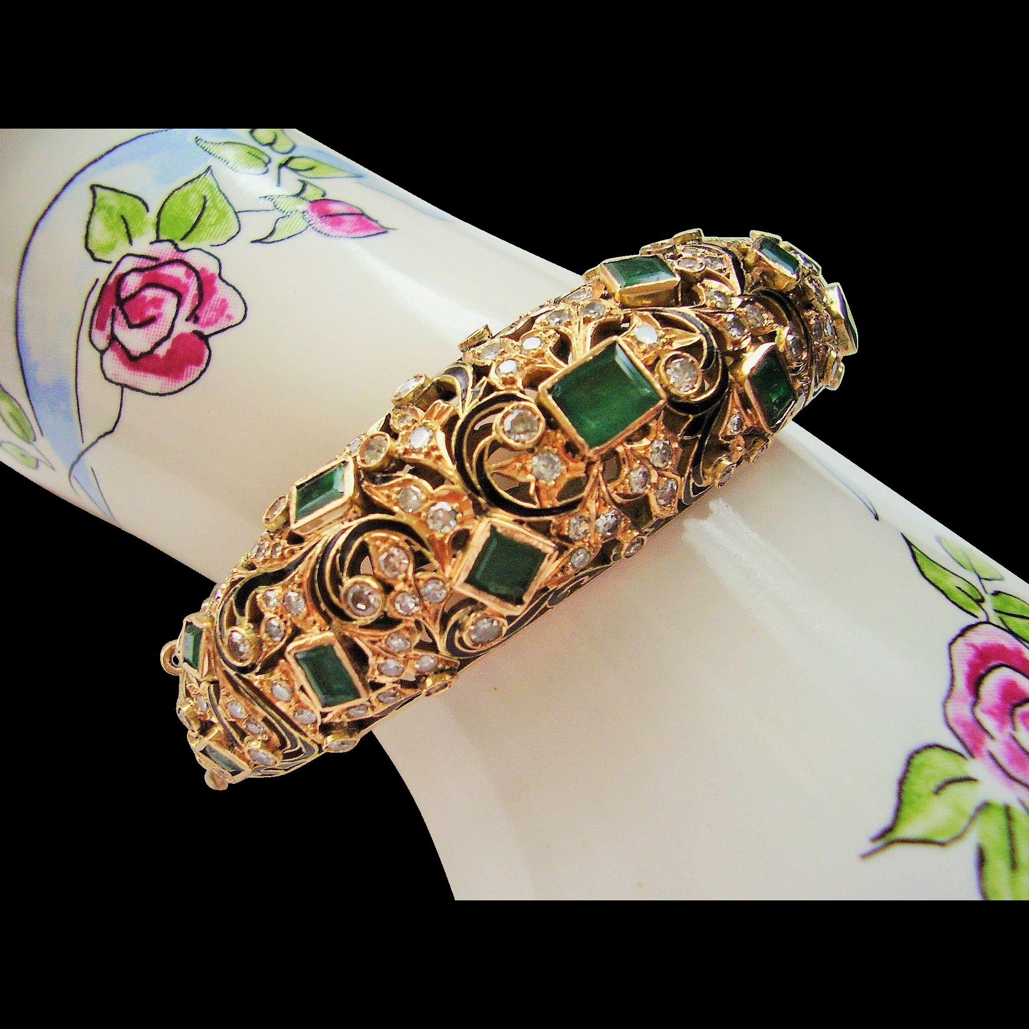 14 Kt Gold Bracelet Emerald Diamond Estate Antique 42 6 Grams Fine Jewel Encrusted European Handmade Bangle