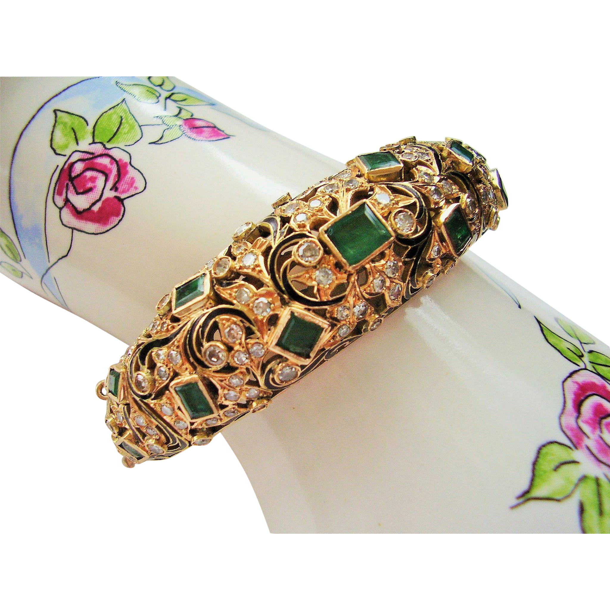 bracelet bangle emerald cttw product row diamond gold womens round double white