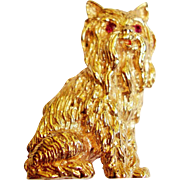 14 Kt. Gold Yorkshire Terrier Figural Dog Pin - Ruby Eyes - 16 Grams