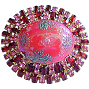 "Vintage Rhinestone Art Glass Dome Pin - Bold 2-5/8"" - Pink & Ruby Red Rhinestones,  Unsigned Schreiner"