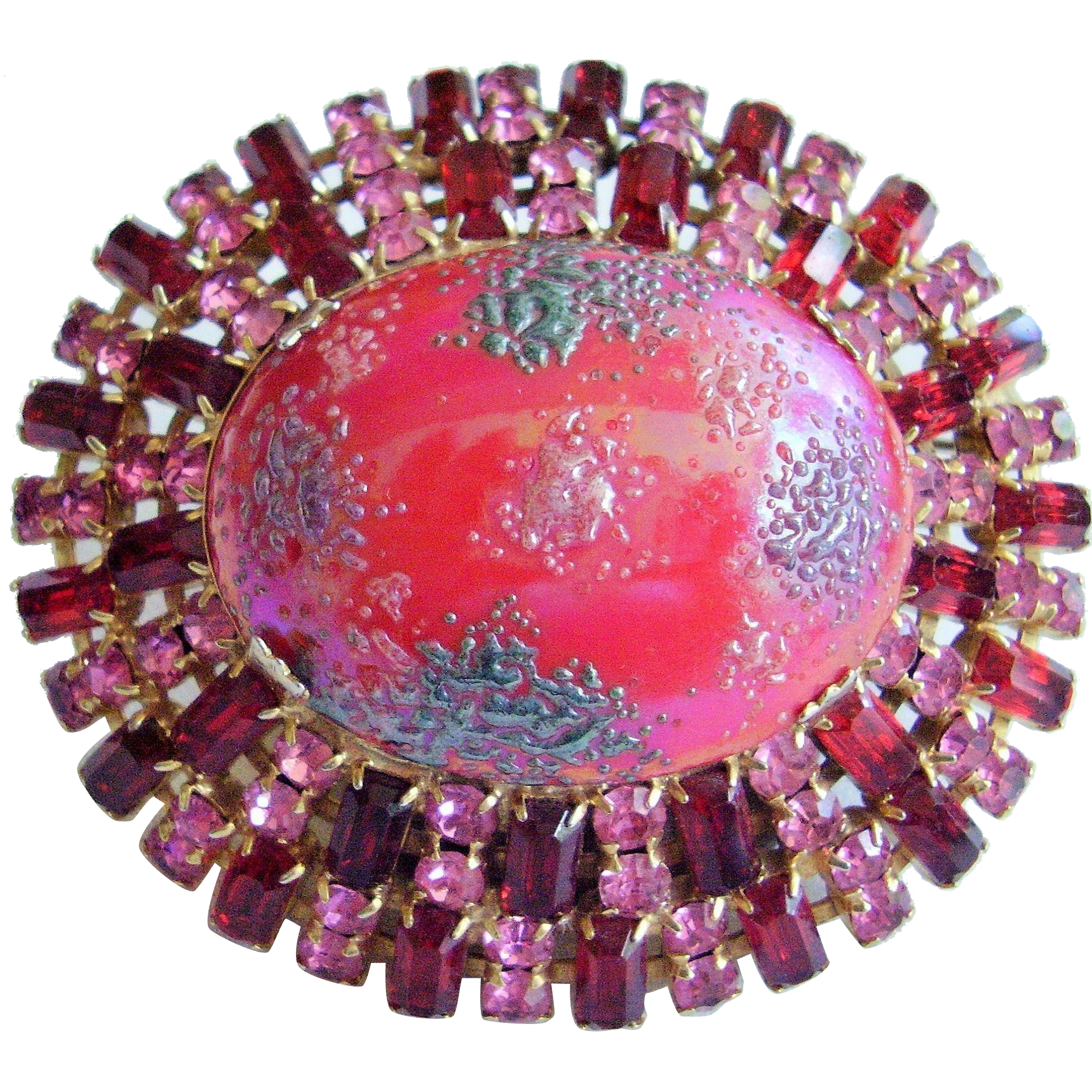 "Vintage Art Glass Dome Pin - Bold 2-5/8"" - Pink & Ruby Red Rhinestones,  Unsigned Schreiner"