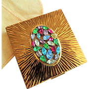 Evans Compact - Jewel Encrusted Rhinestone Powder Compact - Sun Ray Gold Tone Case - Vintage Late 1940's - early 1950's Vanity Collectible