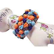 "Kenneth Jay Lane  KJL Bracelet  - Fruit Salad Cuff - Faux Turquoise, Coral & Lapis with Rhinestones - 1-1/2"" Wide - Kenneth Lane Couture Collection  - Small to Average Wrist- MIB"