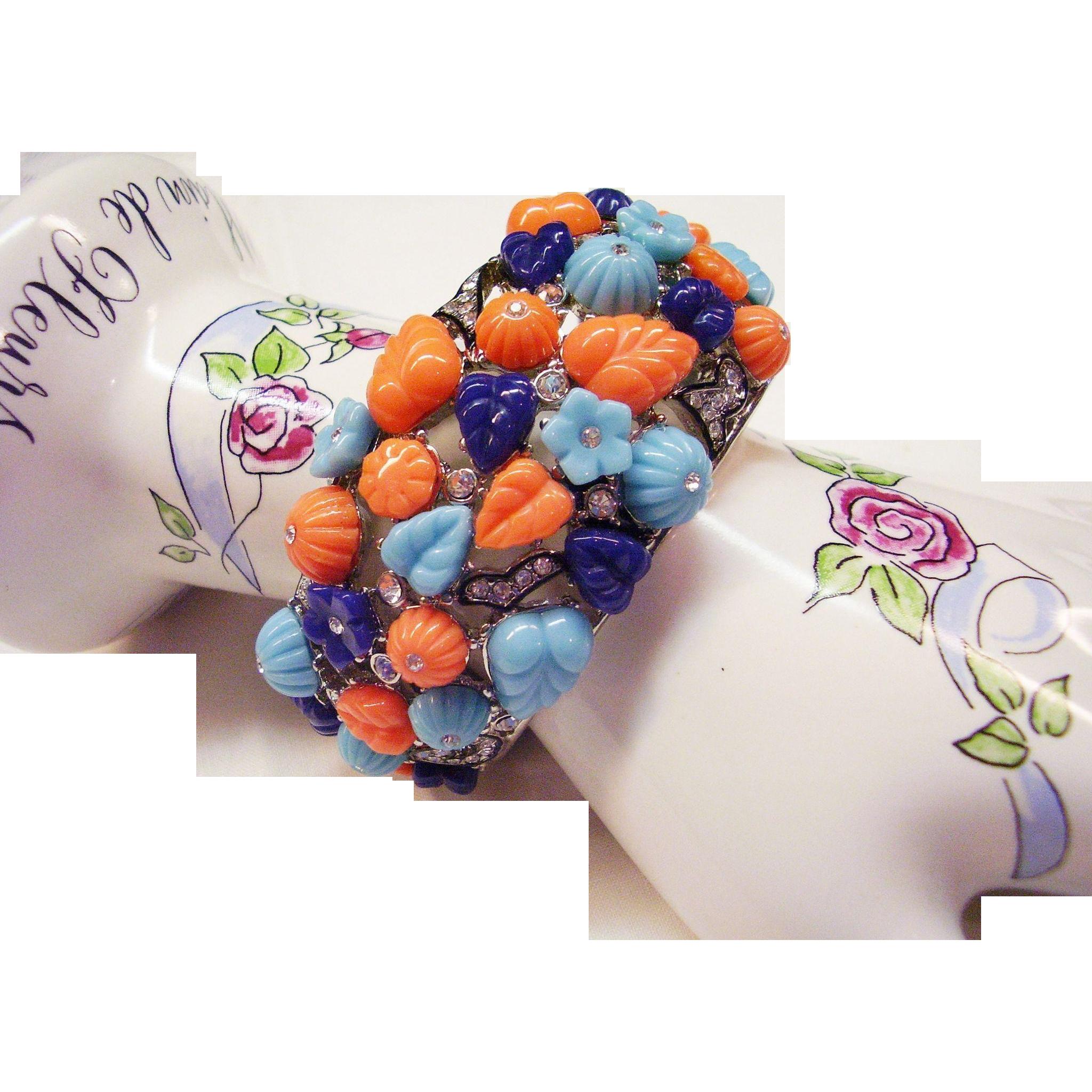 Kenneth Jay Lane Kjl Bracelet Tutti Frutti Fruit Salad Cuff Faux Turquoise C Lapis With Rhinestones 1 2 Wide Couture