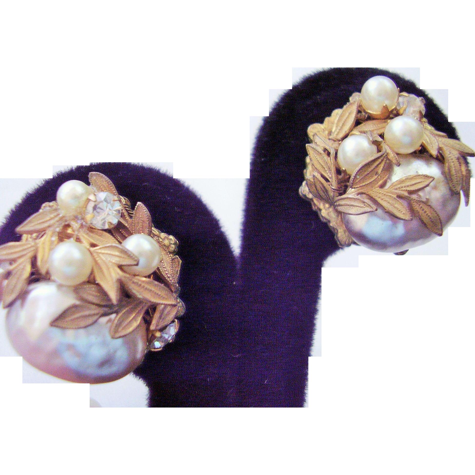 "Miriam Haskell Faux Baroque Pearl & Rhinestone Cluster Earrings - Vintage Clip Earrings 7/8""- Designer Signed"