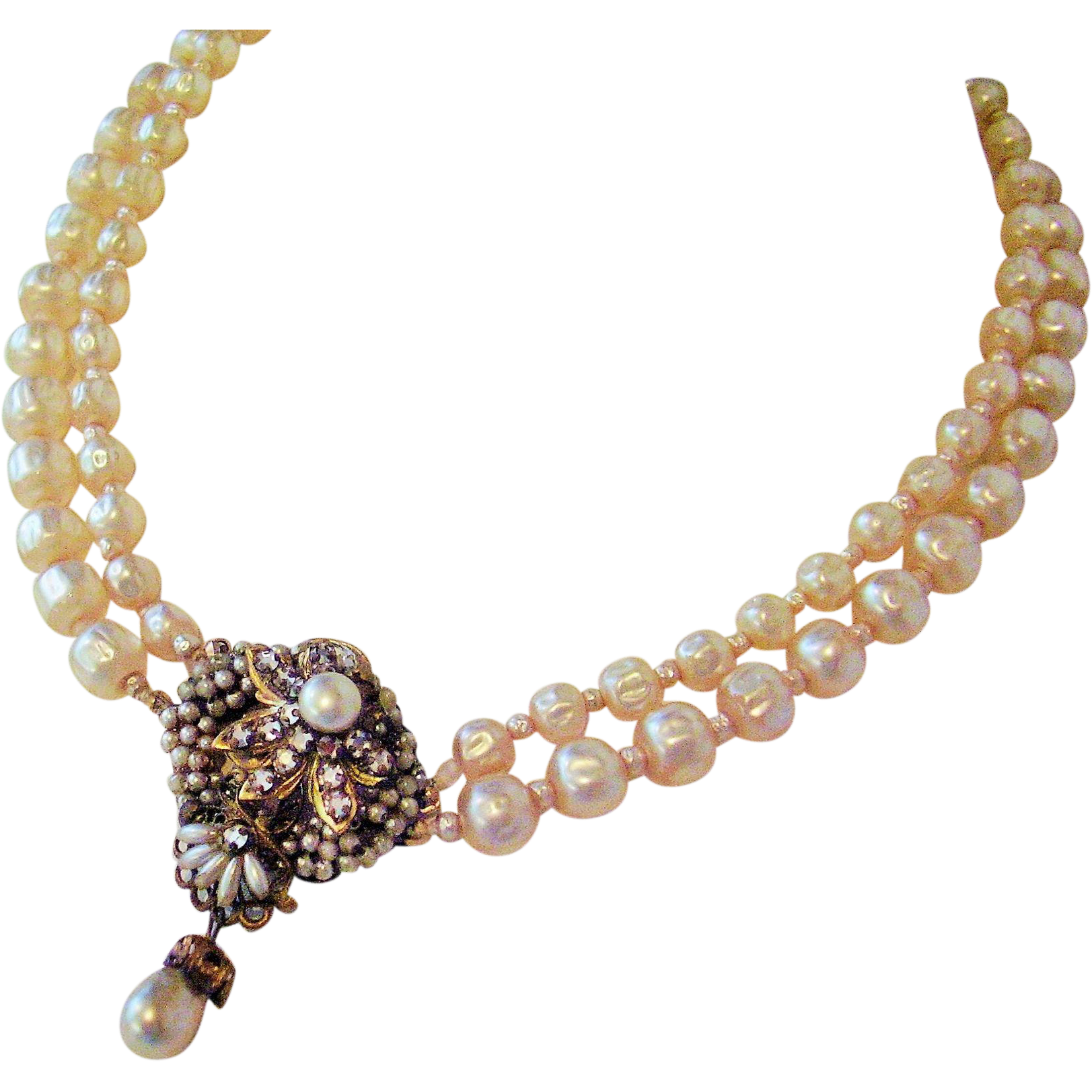 "Double Strand Faux Pearl Necklace with Center Cluster - Vintage 15"" Necklace with 2"" Extender Style of Miriam Haskell - Unsigned"