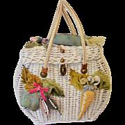 Midas of Miami - Vintage 1950's  Handbag  Wicker Purse - Whimsical  Embellished Vegetable Design