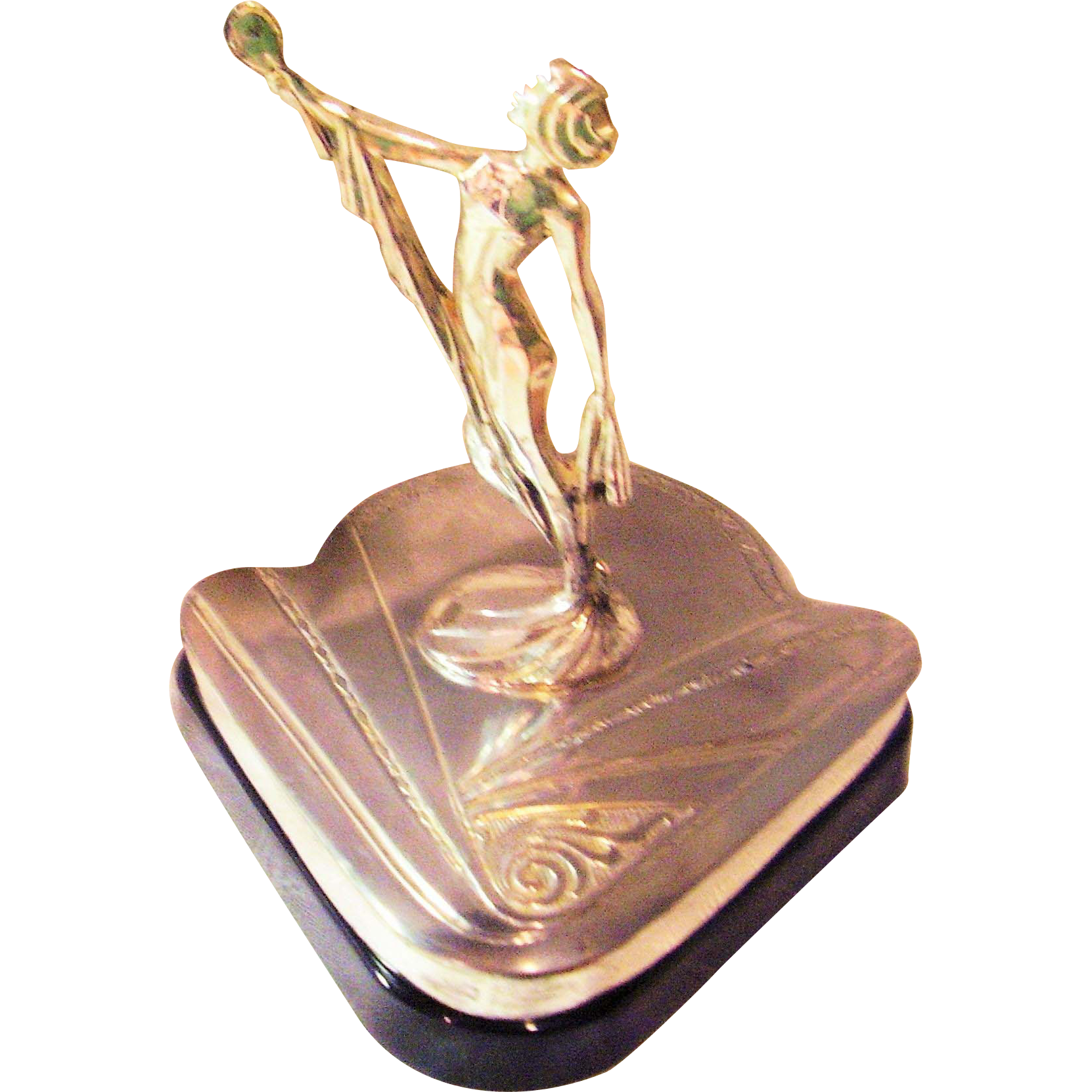 Art Deco Vanity - Weidlich Brothers - Female Figural Beauty & Powder Box - Silver-plated - Vintage 1931 - Book Piece