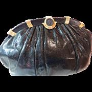 Judith Leiber Black Karung Snakeskin Clutch/Shoulder Handbag Purse - Black Cameo Style Clasp - Vintage  Late 1980's