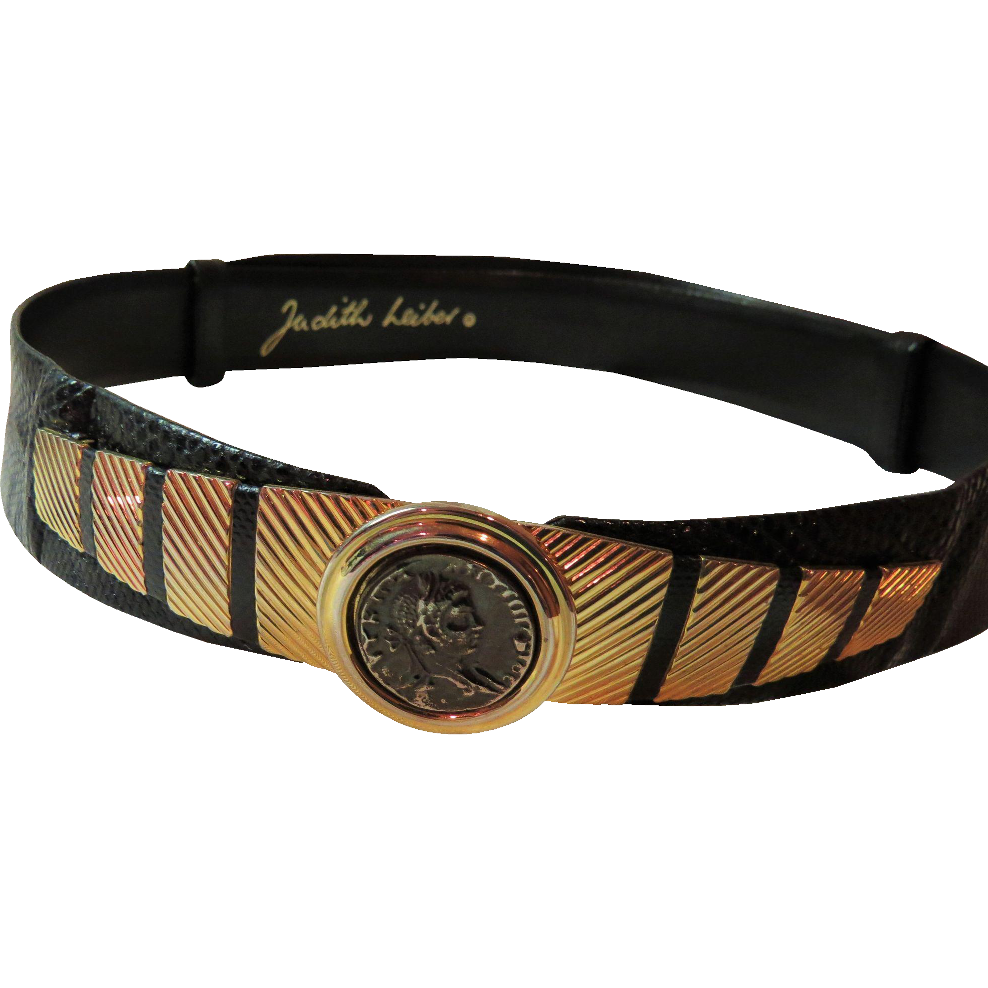 Judith Leiber Black Karung Snakeskin Belt - Vintage Late 1980's Adjustable Belt with Gold Tone accents & Replica Ancient Coin Clasp