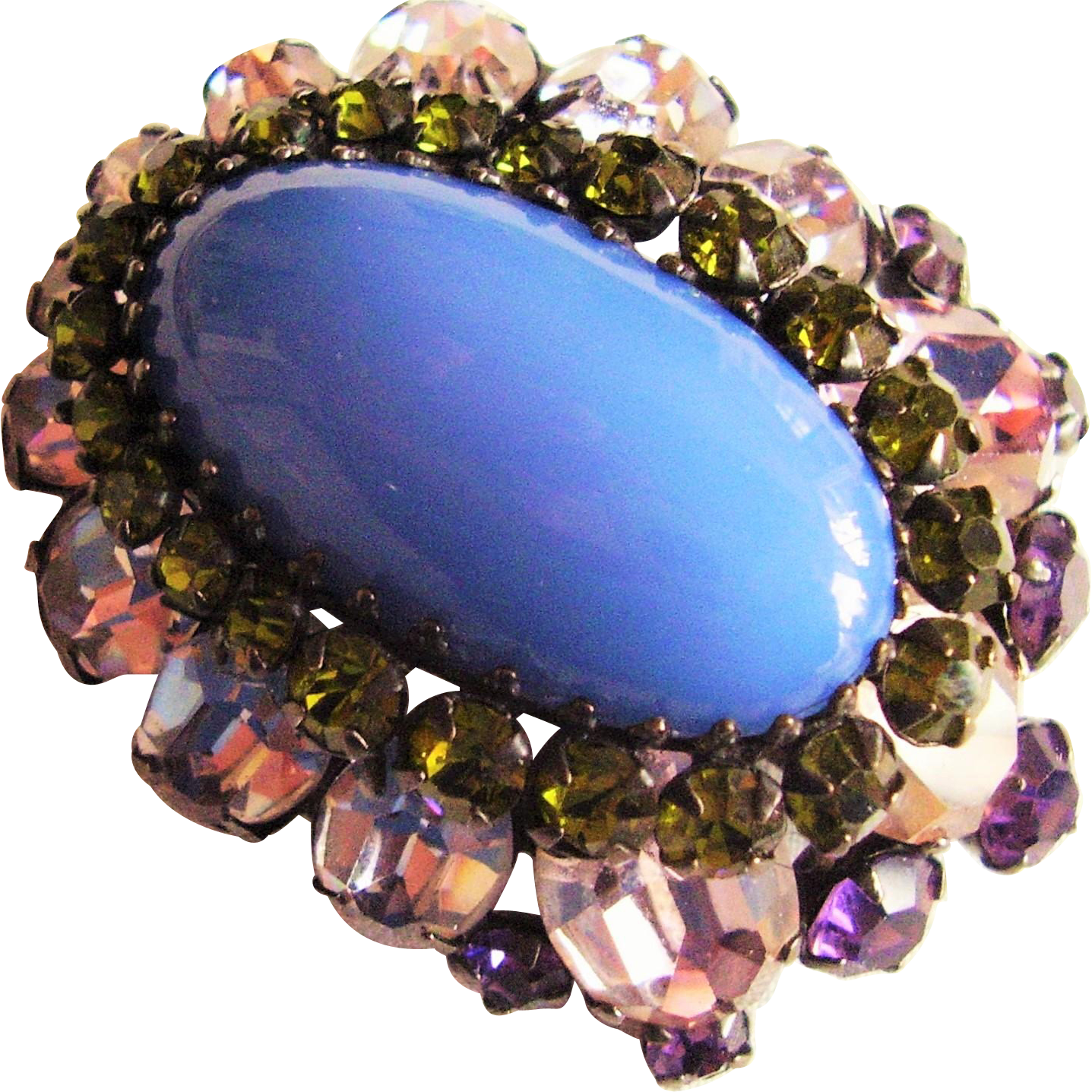 Schreiner New York - Signed - High Dome Pin Large Oval Multi Layer Vintage Brooch