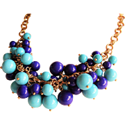 "Kenneth Jay Lane  KJL Lucite Cluster Bead Necklace - Turquoise & Purple - 20"" Long - Gold Tone Double Ring Chain - Designer Signed"