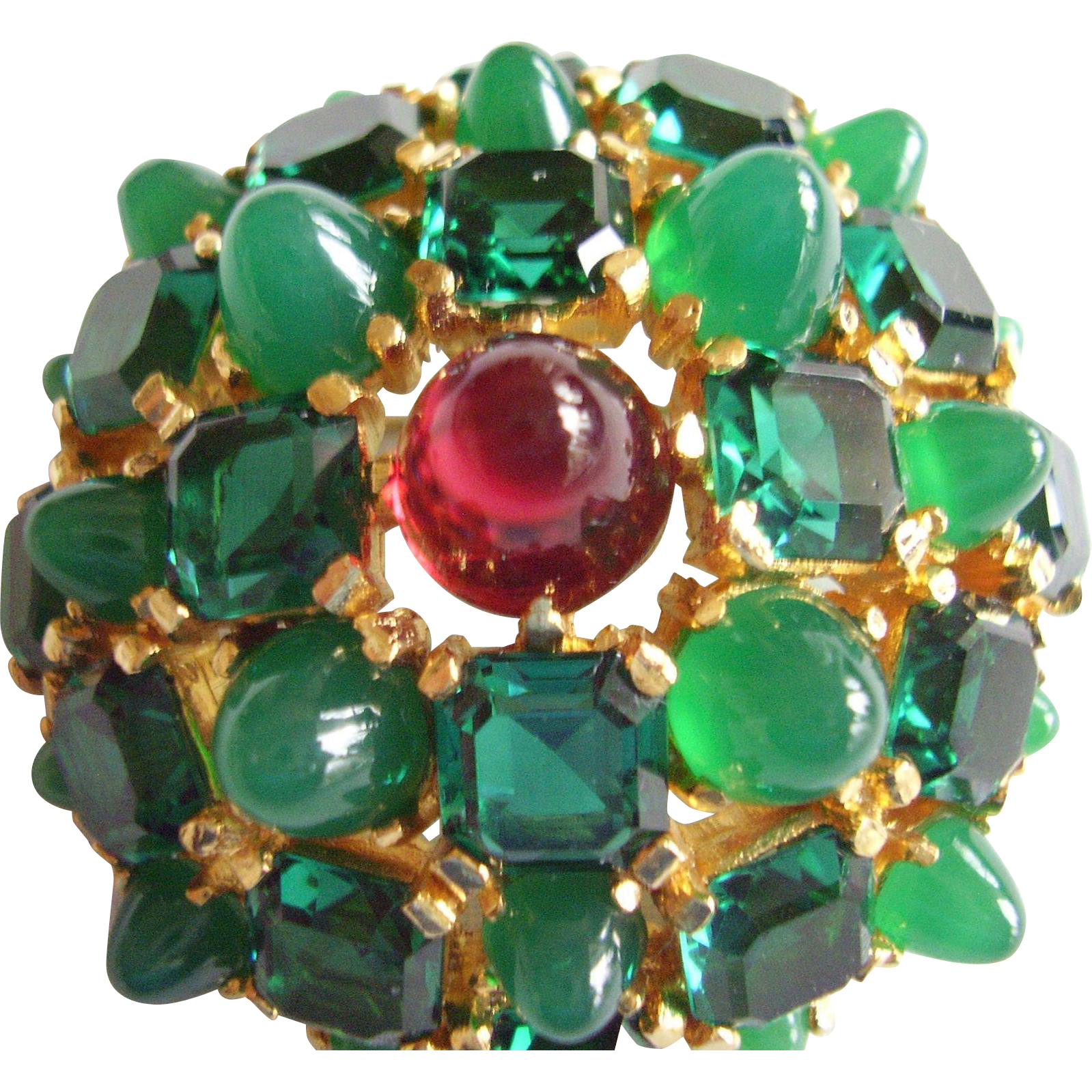 "Boucher Brooch - Vintage 1960's High Dome Pin Faux Emeralds & Ruby - 7/8"" Dome Profile - Designer Signed"