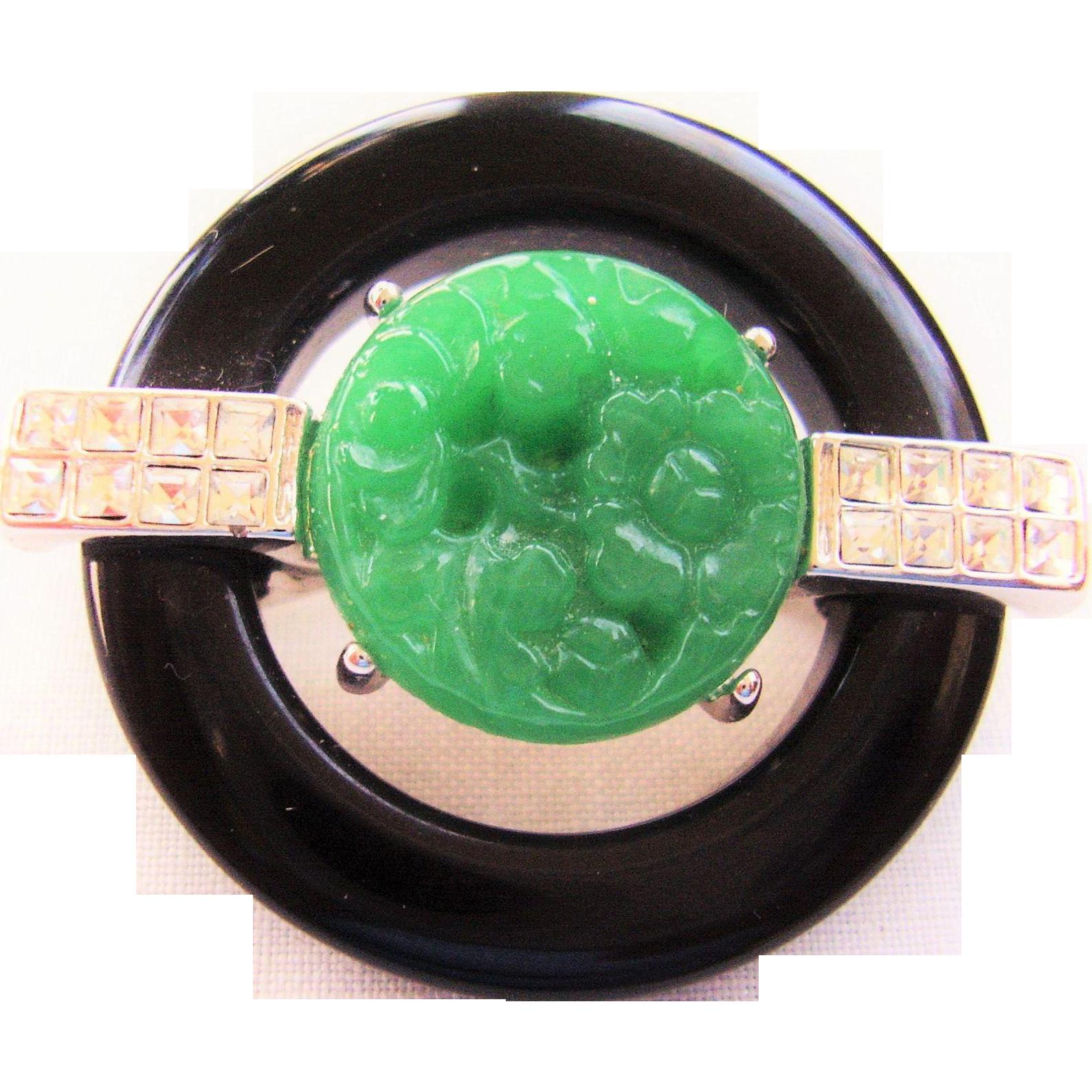Kenneth Jay Lane Jade Center Deco Pin Jade/black qqKoJPExY1