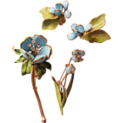 Hattie Carnegie Floral Pins & Earrings Set - Poured Glass Vintage 1950's - Designer Signed - Pat. Pend.  - Book Piece