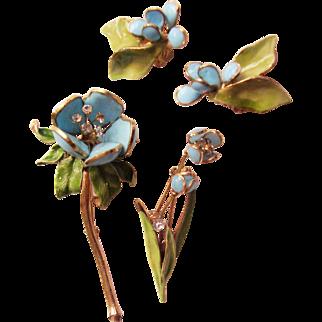 Hattie Carnegie Floral Pins & Earrings Set - Poured Glass Vintage 1950's - Designer Signed - Pat. Pend.  - Book Piece