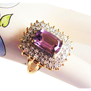 Amethyst & Diamond Fancy Cocktail Ring - Vintage 1980's  14Kt Gold - 8.9 Grams  Size 9 - Emerald Cut Amethyst Center Gemstone