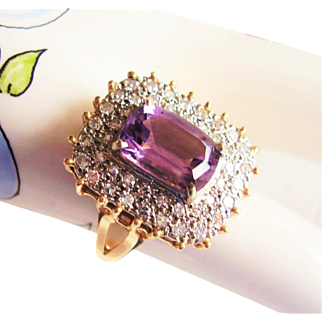 Amethyst & Pave Diamond Fancy Cocktail Ring - Vintage 1980's  14Kt Gold - 8.9 Grams  Size 9 - Emerald Cut Amethyst Center Gemstone