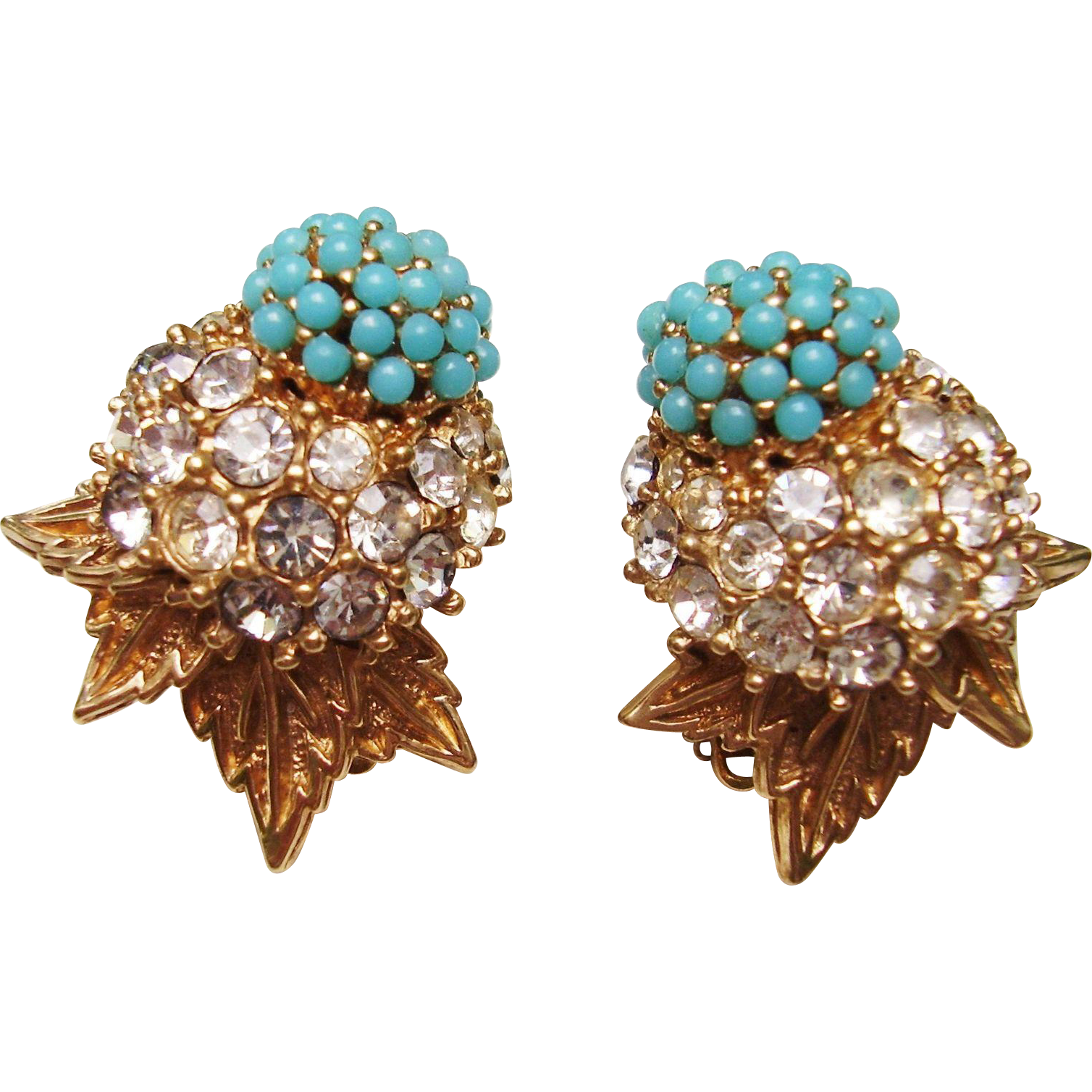 Ciner Earrings - Vintage Clip Earrings Faux Turquoise & Rhinestone Dome Floral & Leaf Design