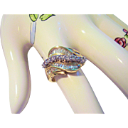 14 Kt. Yellow Gold & Diamonds - Cocktail Ring Size 7 - Wave Design  Round & Baguette Diamonds  5.1 Grams