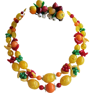 Vintage Fruit Necklace & Clip Earrings - Colorful Early Plastic Jewelry