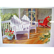 "Original Watercolor Painting by N.J. Artist Alice Skidmore Culbreth - Adirondack Chairs - 12"" x 10"" Framed"
