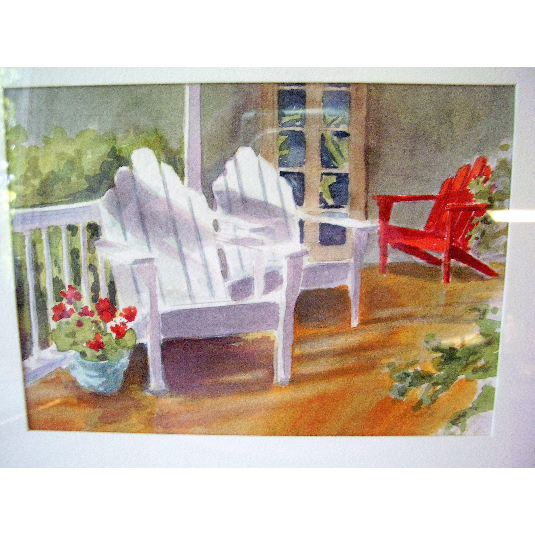 Connecticut watercolor artists directory - Original Watercolor Painting By N J Artist Alice Skidmore Culbreth Adirondack Chairs 12 X 10 Framed