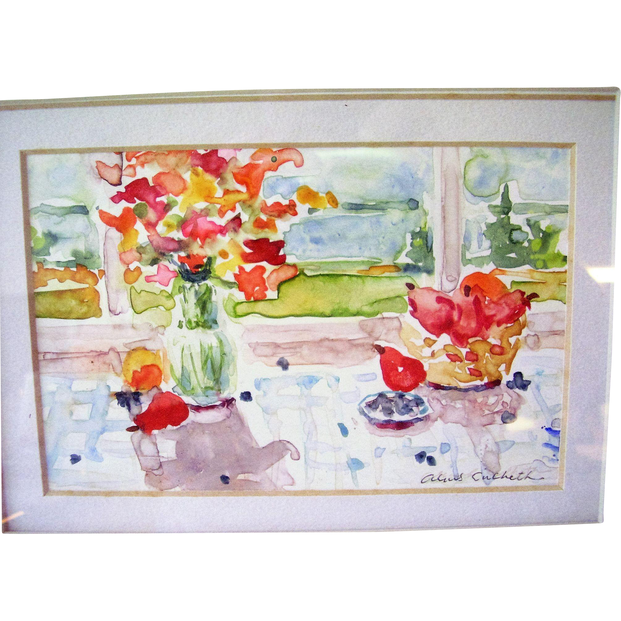 "Original Watercolor Painting by N.J. Artist Alice Skidmore Culbreth - Still Life with Water View - 12"" x 10"" Framed"