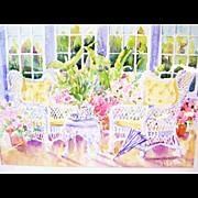 """Original Watercolor Painting by N.J. Artist Sandra Nusblatt - Victorian Garden  - Unframed 14"""" x 18"""""""