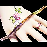 "14 Kt. Gold Multi-Color Rainbow Line Bracelet - 39 Princess Cut Gemstones - 7"" Long - 17.3 Grams"