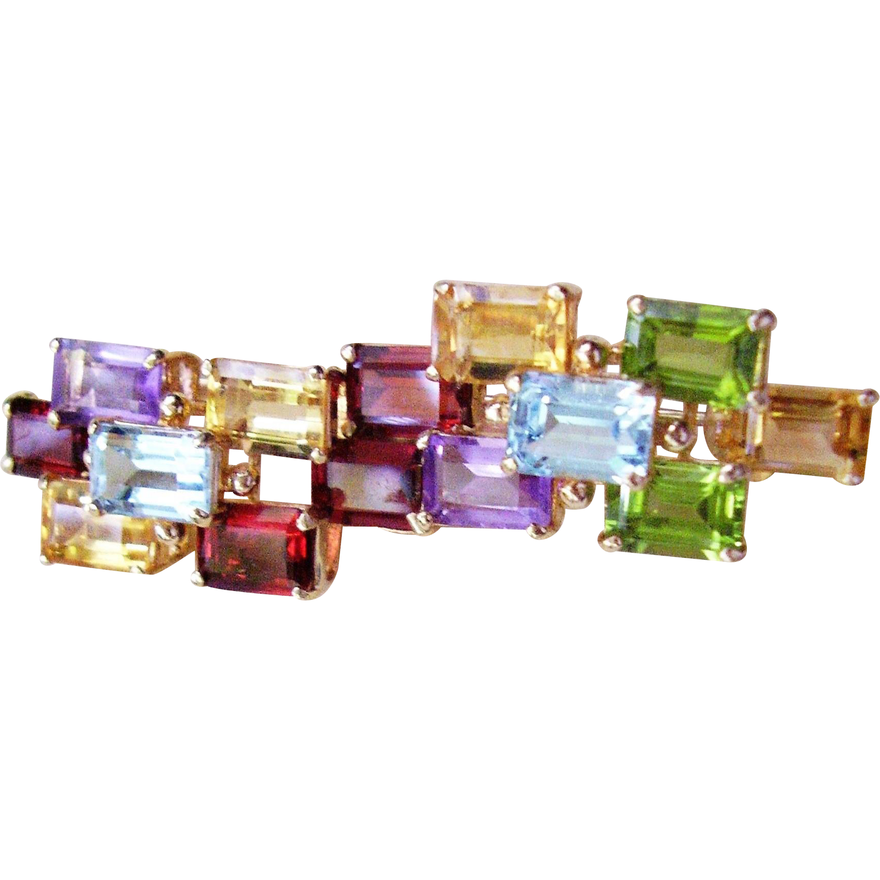 "14 Kt. Gold Multi-Gemstone Pin 2"" Long  8.4 Grams"